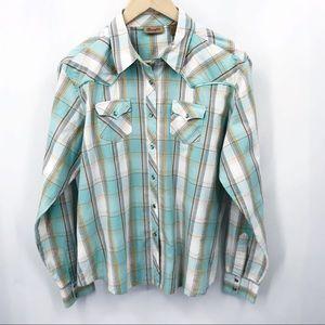 Wrangler Plaid Western Show Shirt Pearl Snap Aqua